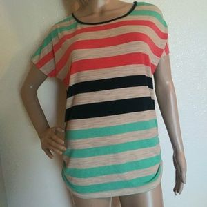 Blu Planet Striped Short Sleeve Top